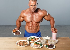 bodybuilder with meal plan